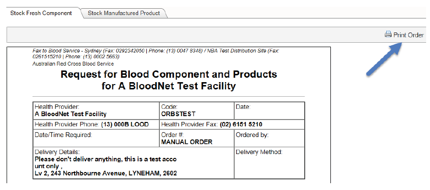 Image of BloodNet print form for outages