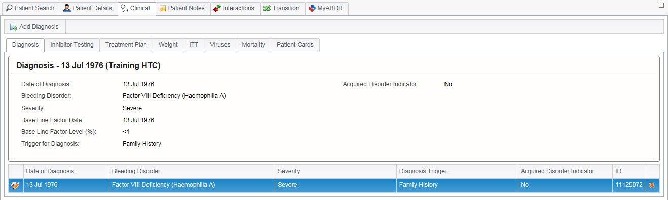 Picture of an ABDR Diagnosis screenshot