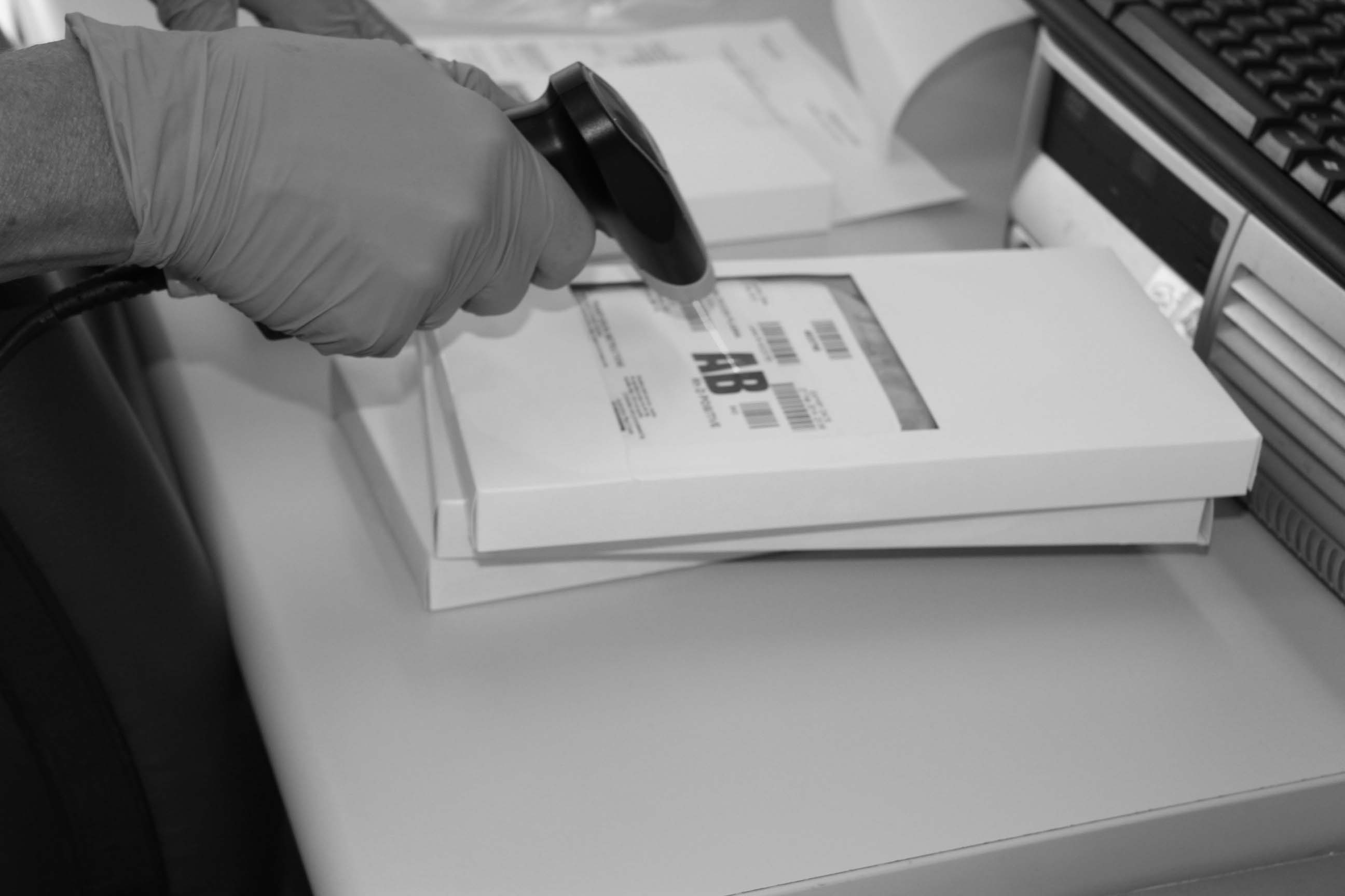 Photo of scanning blood product in black and white