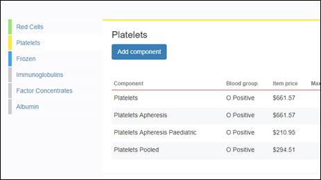 Image of Generic platelet ordering screen