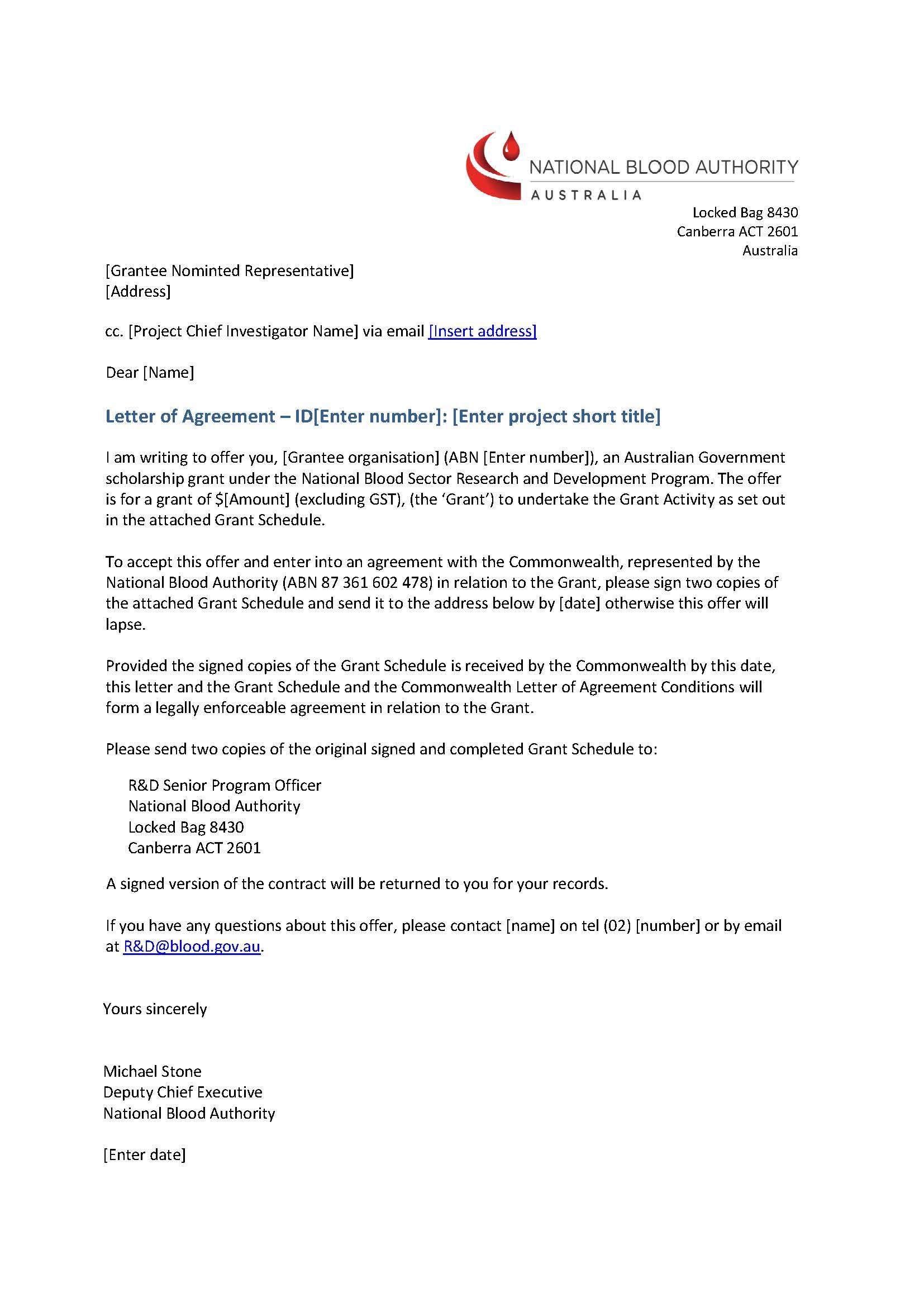 Letter of Agreement for Scholarship Grants