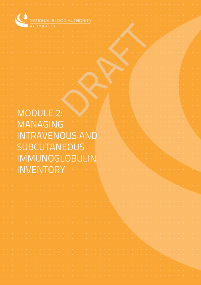 Image of the cover of Module 2 intravenous and subcutaneous immunoglobulin inventory management guidelines