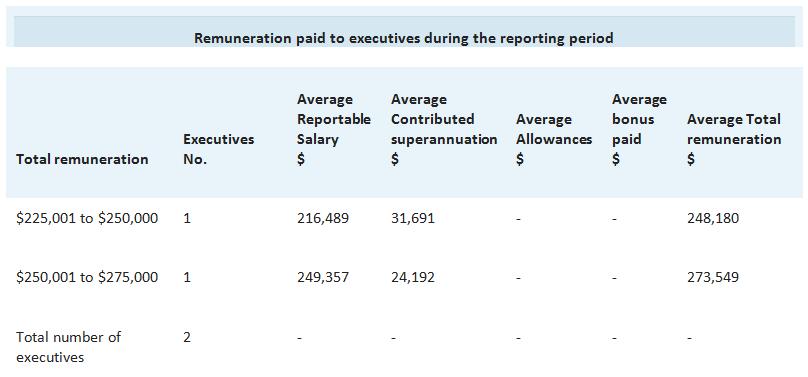 A table explaining NBA's Executive remuneration