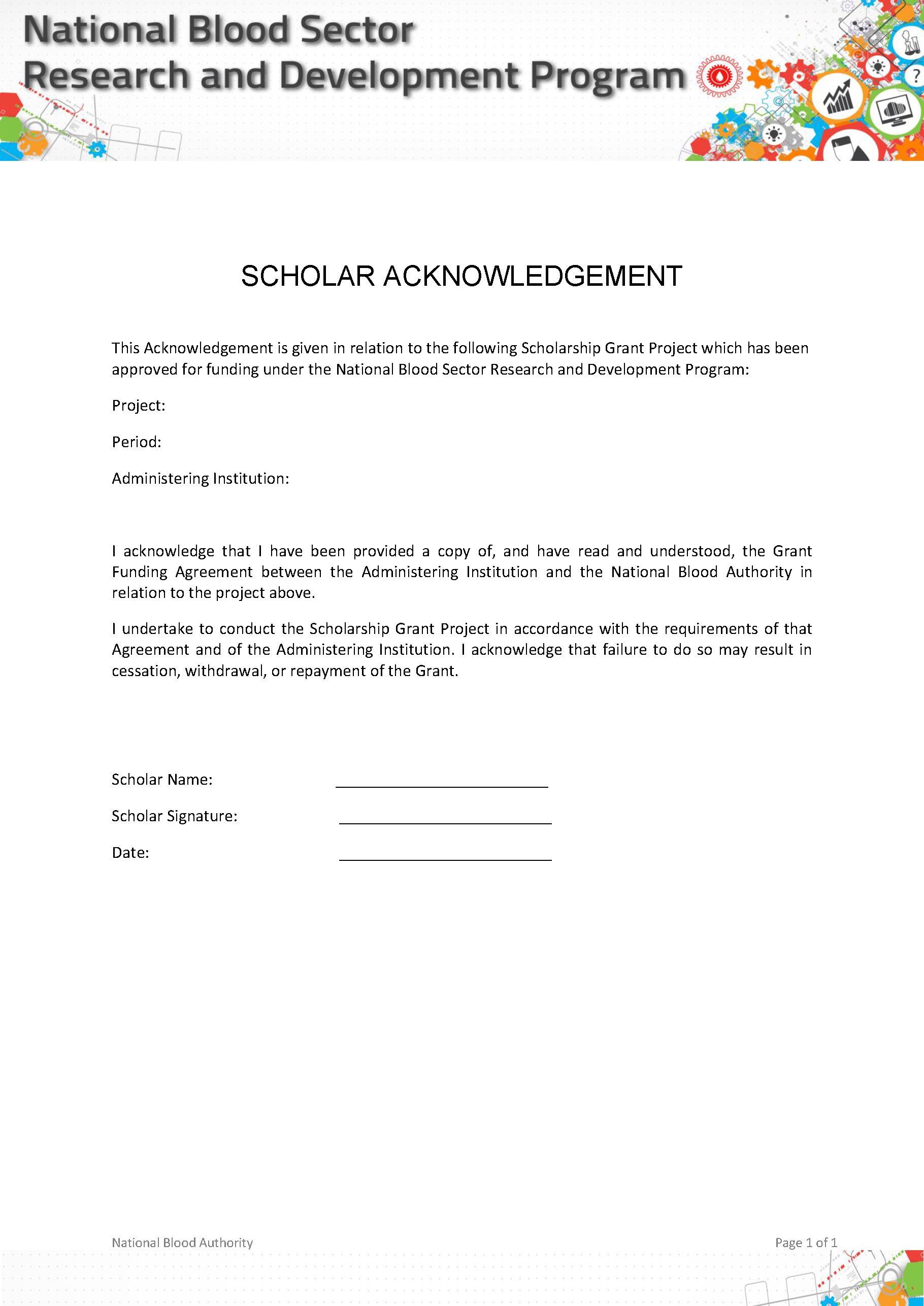 Image cover of Scholar Acknowledgement Form