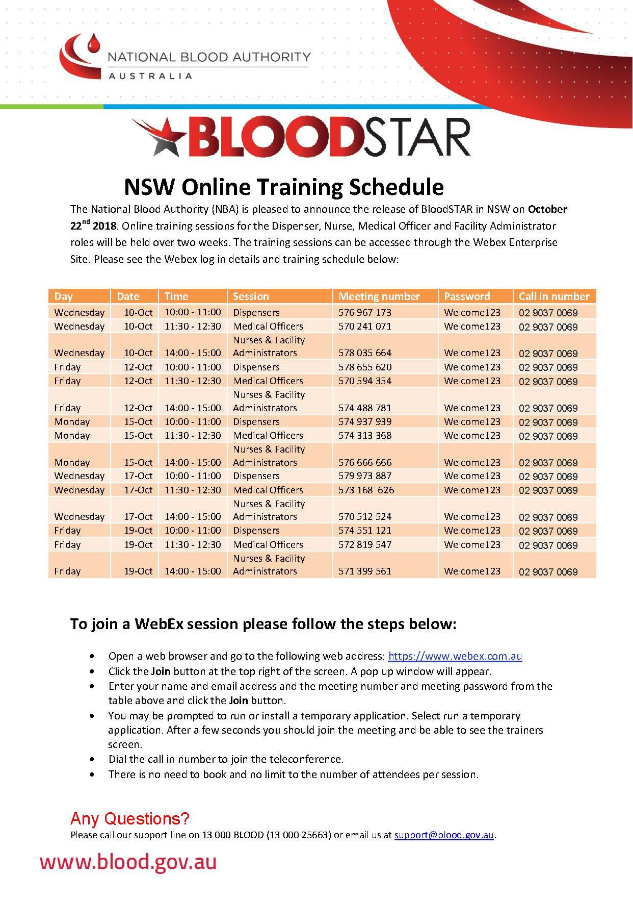 Information about NSW Online Training Schedule