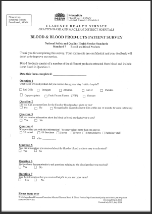 Picture of document Blood and blood products patient survey