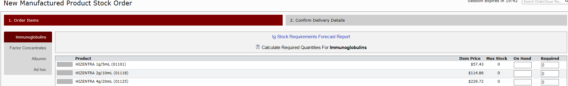 picture of example of Ig Stock Requirements Forecast Report in Bloodnet