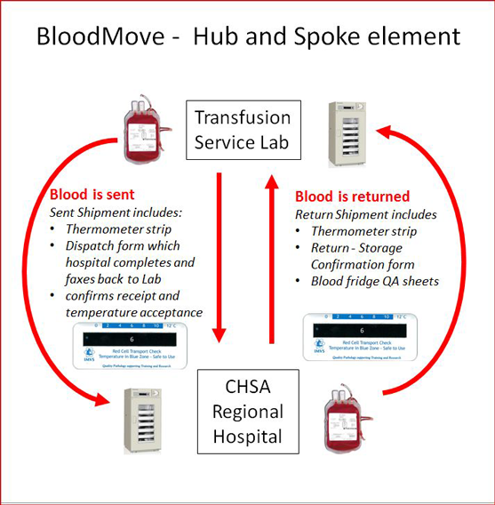 Flowchart depicting how blood is shipped between Transfusion Labs and CHSA Regional Hospitals. Described in detail below.