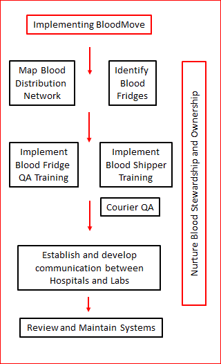 Flowchart of key steps for SA Health and CHSA in implementing BloodMove project as listed below.