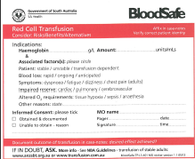 Picture of document red cell transfusion administration sticker