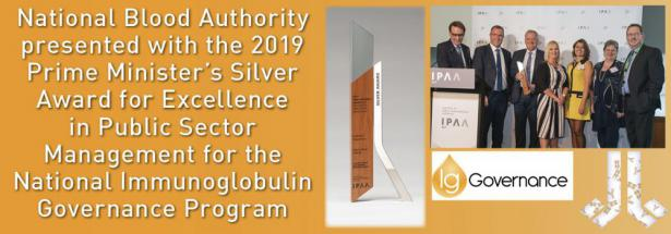 National Blood Authority wins the Prime Minister's Silver Award for Excellence in Public Sector Management for 2019